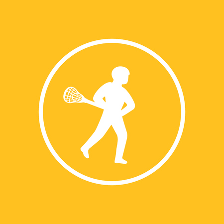 Lacrosse player icon in circle, vector illustration