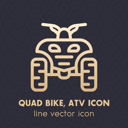 Icono de línea de cuatriciclo, todo terreno vehículo (ATV), cuatriciclo