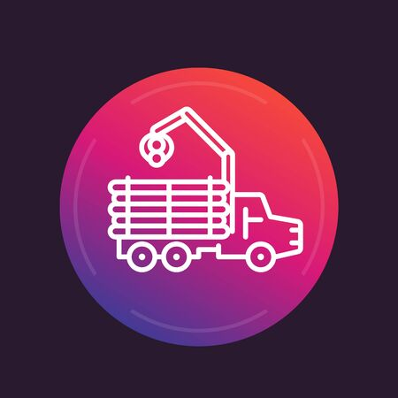 logging truck: Forwarder line icon, logging truck, forestry vehicle