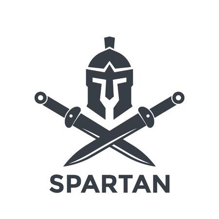Spartaanse logo sjabloon met helm en zwaarden Stock Illustratie