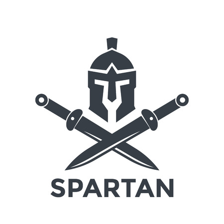 Spartan logo template with helmet and swords