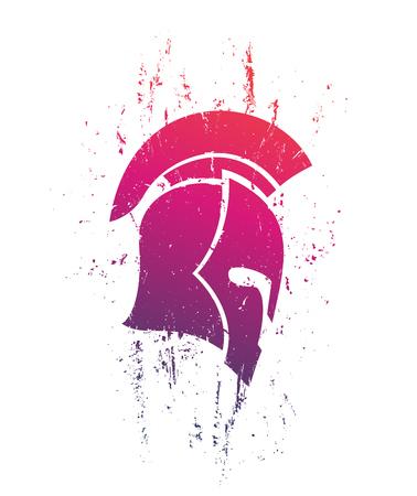 Grunge spartan helmet in profile on white