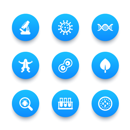 reproduction animal: Biology icons set, cell division, microscope, test-tubess, microbe, microorganism