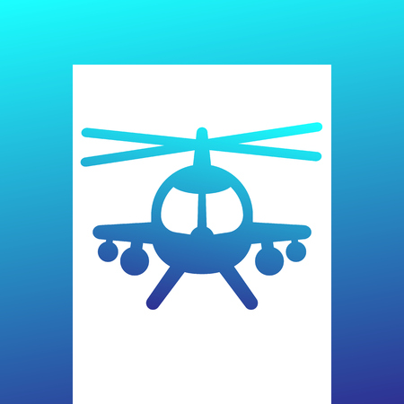 tactical: Combat helicopter icon over white