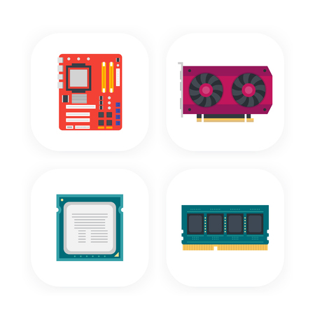 ddr: computer components icons, motherboard, video card, processor, memory Illustration