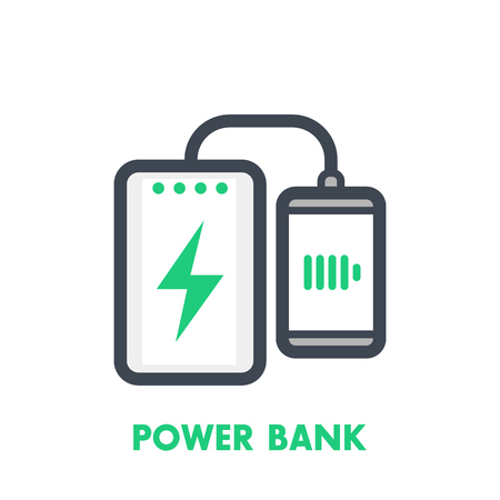 handheld device: power bank charging smartphone vector icon