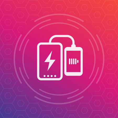 power bank charging phone vector icon