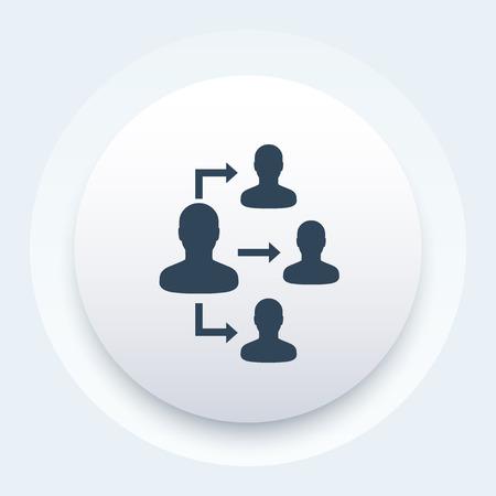 Délégation, icône vectorielle
