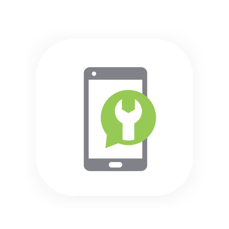 gray: phone repair, recovery icon Illustration