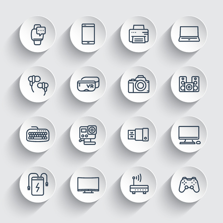 gadgets, modern devices line icons set, laptop, action camera, power bank, smart watch and other electronics