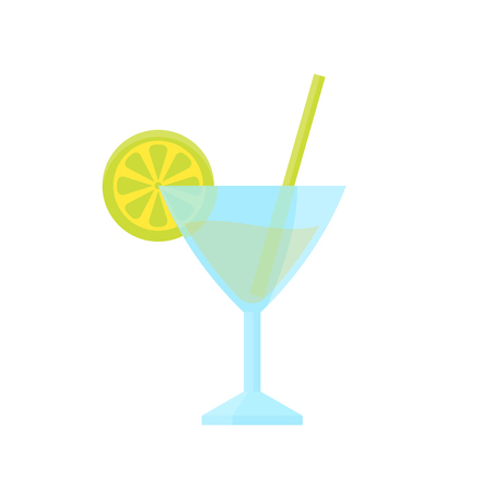 cocktail with lime, flat style