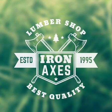 lumber shop vintage logo, emblem with axes Illustration
