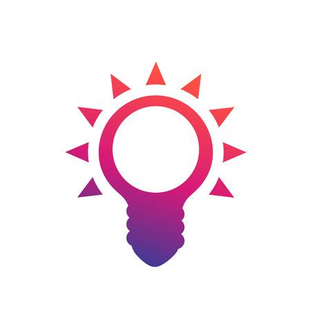 Shining light bulb icon isolated on white