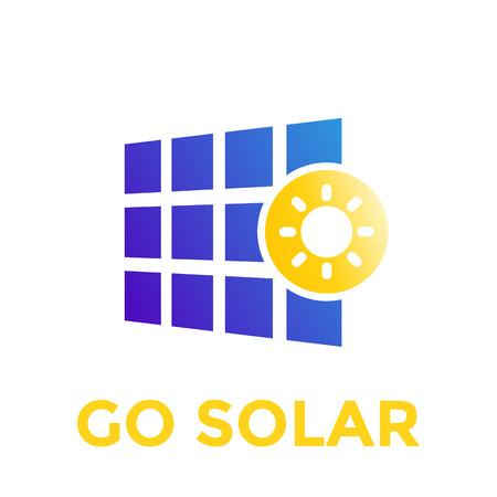 태양 전지 패널 아이콘, 벡터 로고