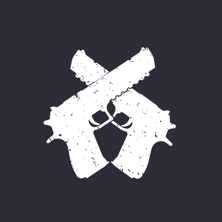gun control: crossed pistols silhouette, grunge effect can be removed