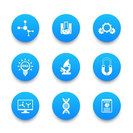 Science, laboratory study, research, lab icons set Illustration