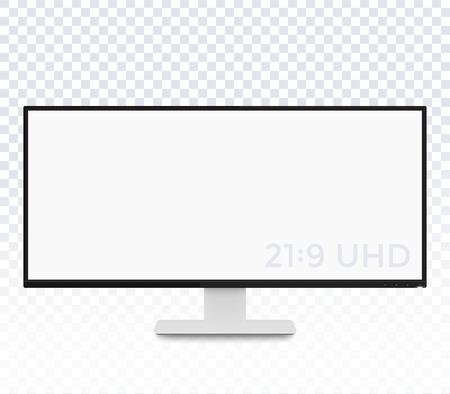 ベクトルのモックアップ、超ワイド スクリーンを使用して現実的な表示を監視します。