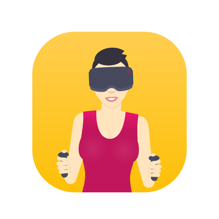 girl in virtual reality glasses, smiling gal with short haircut, flat style female character