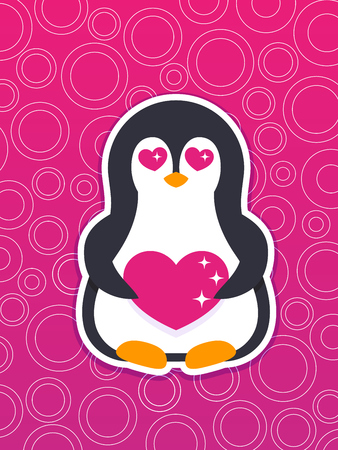 emoji, vector sticker with pinguin in love