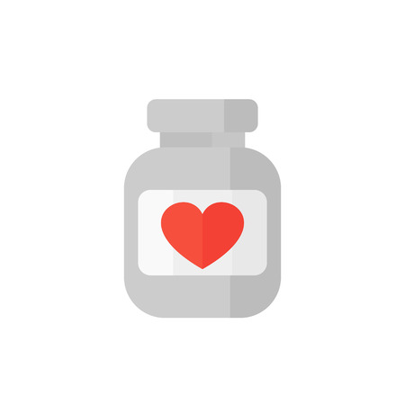 bottle of pills icon on white, vector illustration Illustration