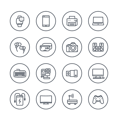 gadgets, modern devices, electronics line icons over white