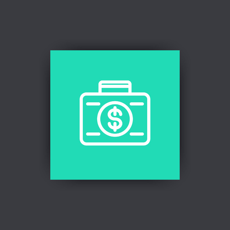 investor: investing icon, banking, investor, loan, suitcase with money linear icon, vector illustration Illustration
