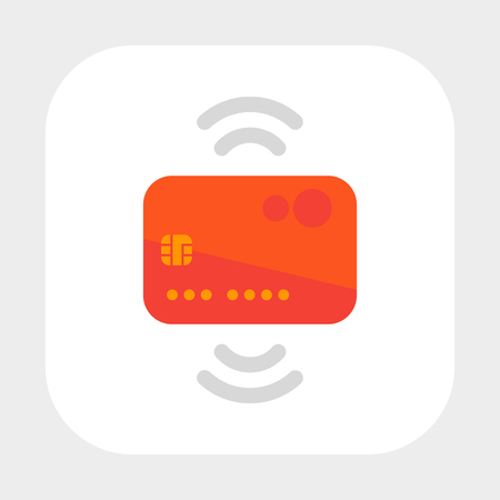 Contactless credit card icon, flat style Ilustrace