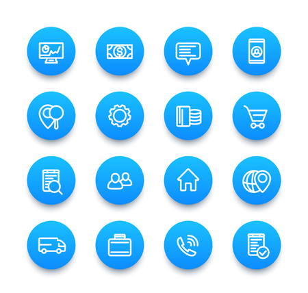 mobile app: business, finance, commerce, trade icons, linear pictograms set