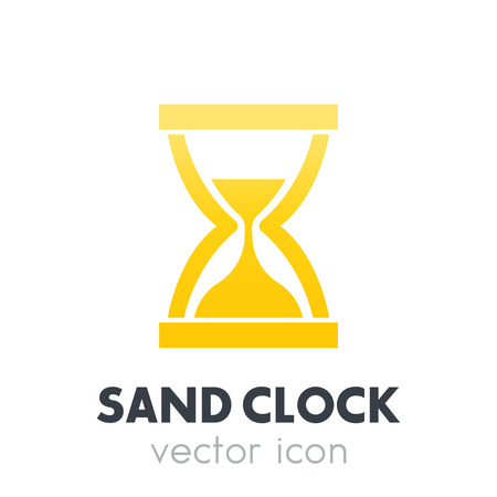 sand clock, hourglass icon on white