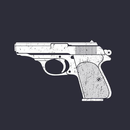 classic pistol, old handgun silhouette, world war 2 german pistol, white on dark, vector illustration