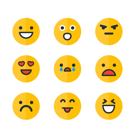 Emoticons set, emoji, smile icons isolated on white background