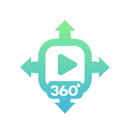 360 degrees video vector icon on white 向量圖像