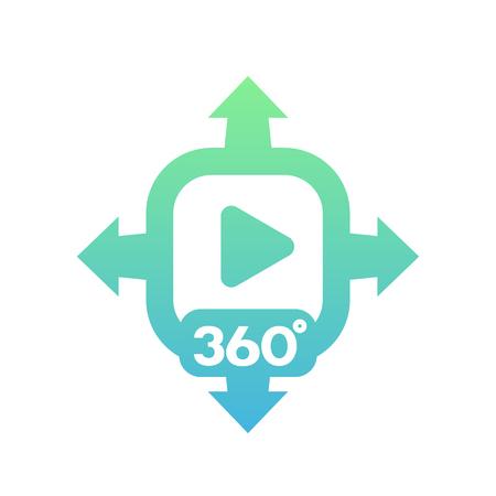 360 degrees video vector icon on white Vettoriali