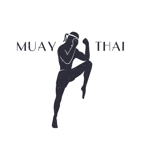 Muay thai athlete silhouette, male boxer in a defensive fighting stance, man doing boxing exercise, logo element, t-shirt print, with