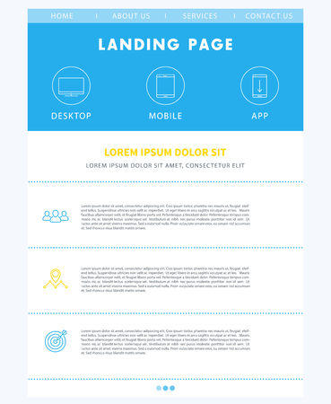 version: Landing page concept, flat website design template, web page layout, one page website template, vector illustration Illustration