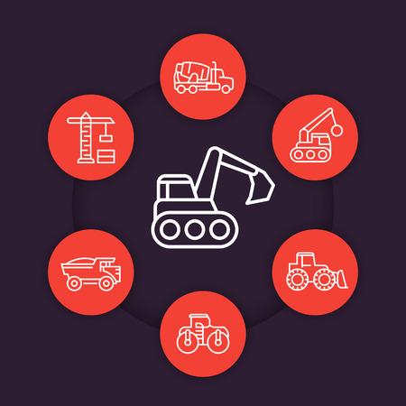 heavy: construction vehicles line icons set, heavy machines, digger, excavator, concrete mixer truck