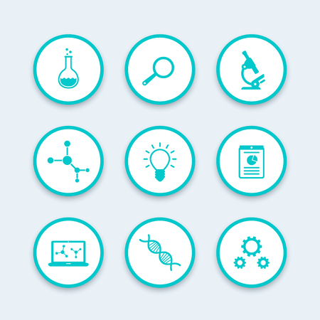 Science icons set, research, laboratory, microscope, dna chain, lab glass, science pictograms, vector illustration