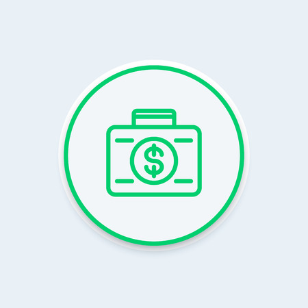 investor: investing icon, banking, investor, suitcase with money icon on round shape, vector illustration Illustration