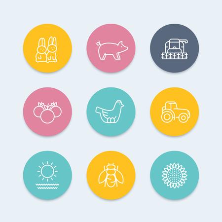 Farm, ranch line icons, harvester, hen, pig, crop, vegetables, color icons set, vector illustration Illustration