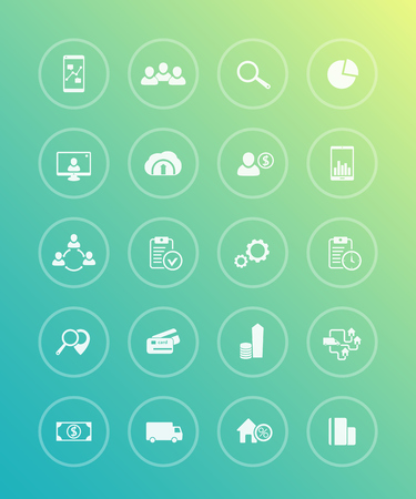 20 business, commerce, trading icons in circles, vector illustration Illustration