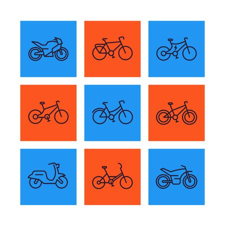 Bikes icons set, linear style, bicycle, cycling, motorcycle, motorbike, scooter, electric bike