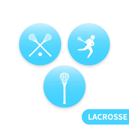 Lacrosse, lacrosse stick, crosse, round blue icons, vector illustration