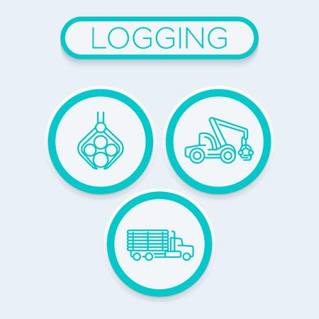 ログ、林業、木材収穫機、トラックのトレンディな線形アイコンをログ