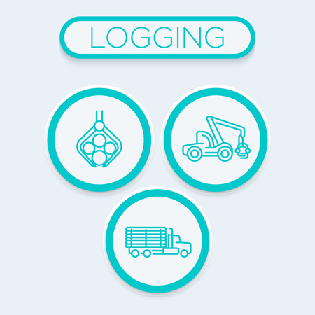 Logging, forestry, timber harvester, logging truck trendy linear icons