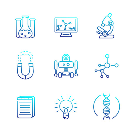 Science icons set, line style Illustration