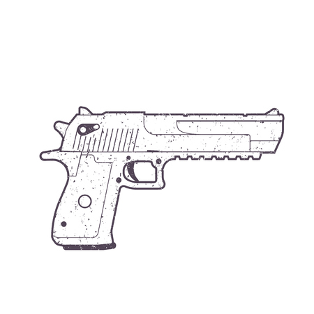 概要、拳銃、白で隔離銃をピストルします。  イラスト・ベクター素材