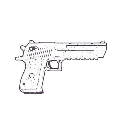 pistool overzicht, pistool, pistool geïsoleerd op wit Stock Illustratie