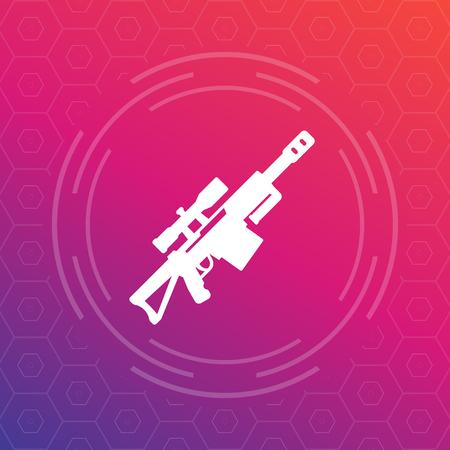 Sniper rifle vector icon, pictogram
