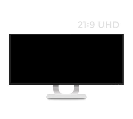 白、現実的な超ワイド スクリーン ディスプレイでモニター モックアップ  イラスト・ベクター素材