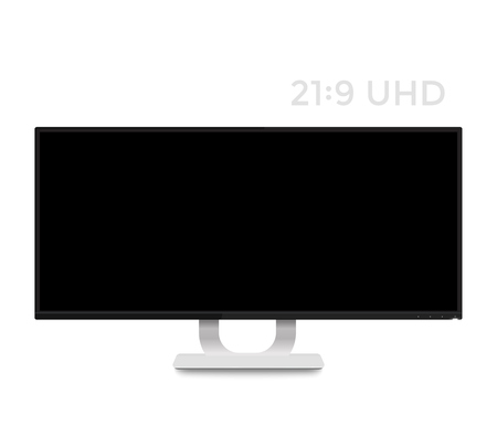 fullhd: monitor mockup on white, realistic display with ultra wide screen